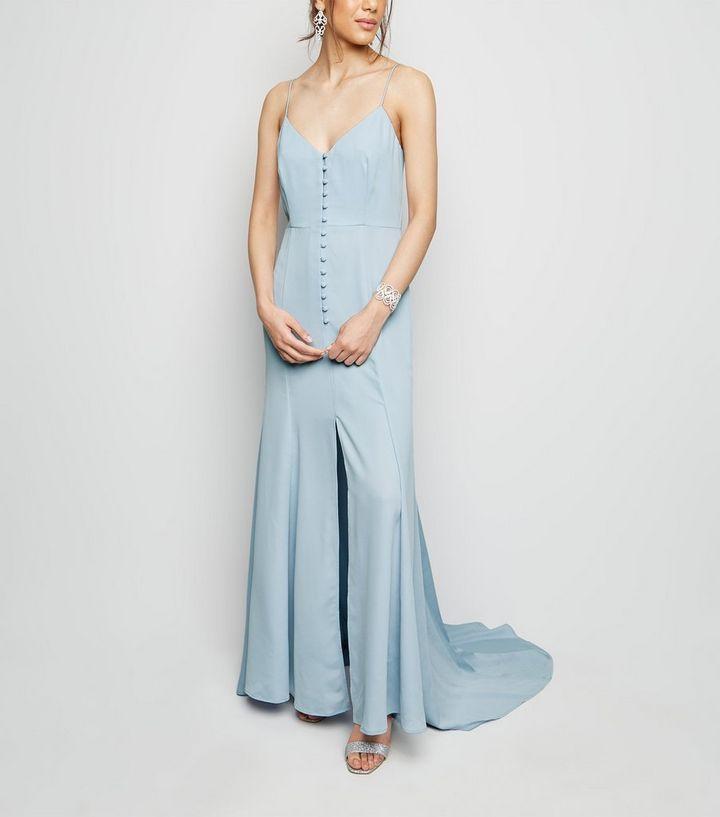 c7e5e467e683 Pale Blue Satin Button Front Maxi Dress