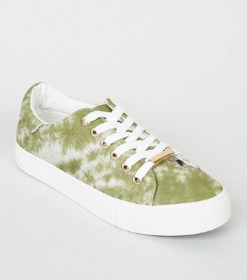 Girls Green Tie Dye Lace-Up Trainers