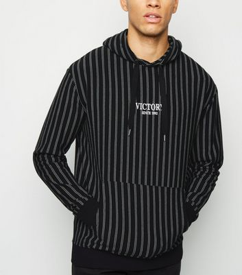 Black Stripe Victory Embroidered Slogan Hoodie