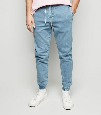 Pale Blue Bleach Wash Jogger Jeans