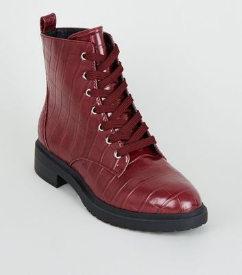 Wide Fit Burgundy Faux Croc Lace Up Boots