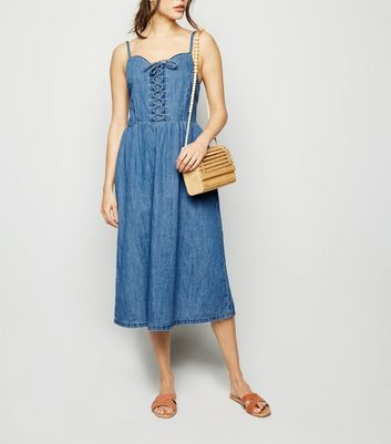 Blue Denim Lace Up Front Midi Dress