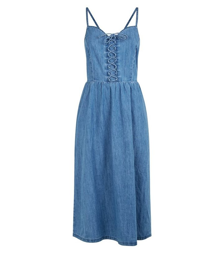 Blue Lace Up Denim Midi Dress Add To Saved Items Remove From Saved Items