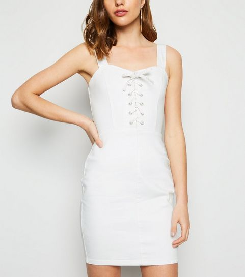 bee1acb13a7db ... White Lace Up Denim Bodycon Dress ...