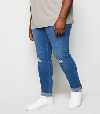 Plus Size Blue Ripped Knee Skinny Jeans