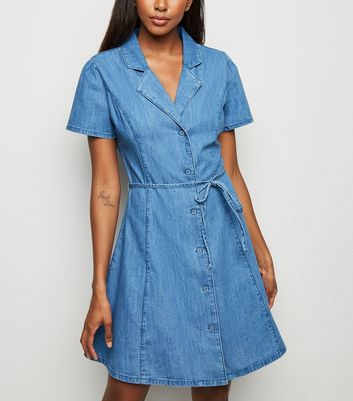 Pale Blue Denim Tie Waist Tea Dress