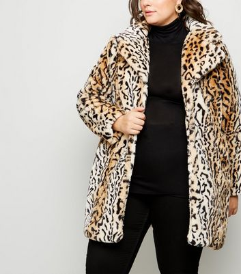 Blue Vanilla Curves Brown Faux Leopard Fur Coat