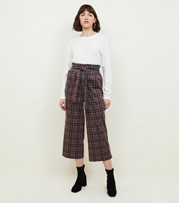 Innocence Dark Brown Check Tie Waist Trousers