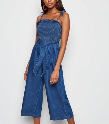 Blue Tie Waist Smock Denim Jumpsuit