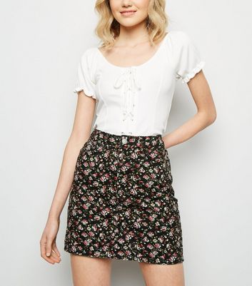 Black Floral Denim Mini Skirt