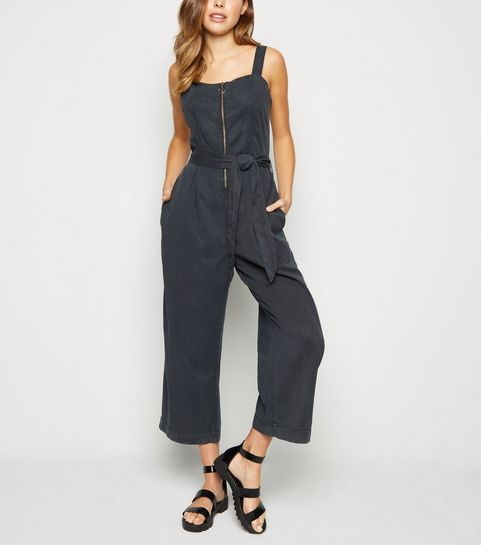 0bcd44b0e4 ... Black Ring Zip Lightweight Jumpsuit ...