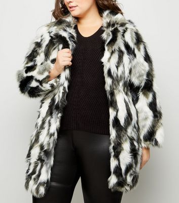 Blue Vanilla Curves Black Patched Faux Fur Coat