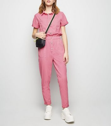 Bright Pink Pocket Front Tapered Leg Jumpsuit