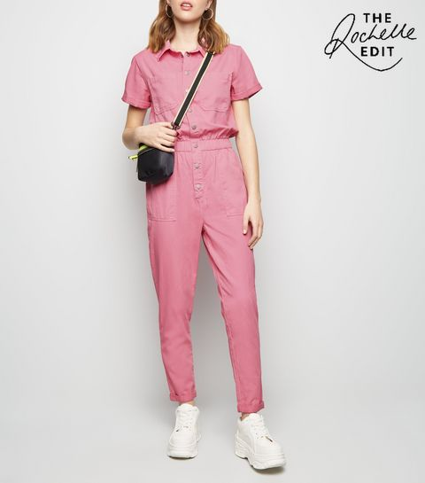 b84726934b ... Bright Pink Pocket Front Tapered Leg Jumpsuit ...