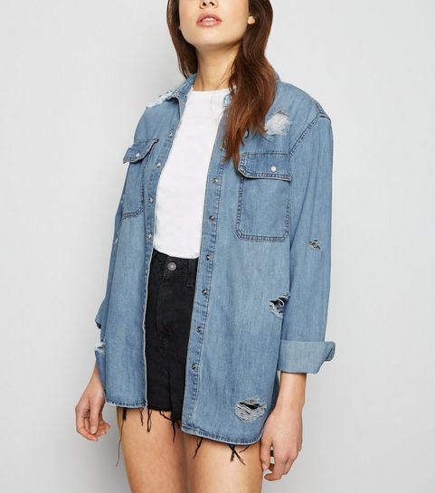 dbb6f6ae570 Blue Oversized Distressed Denim Shirt · Blue Oversized Distressed Denim  Shirt ...
