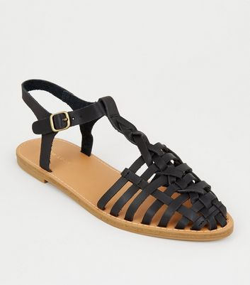 Black Leather-Look T-Bar Caged Sandals