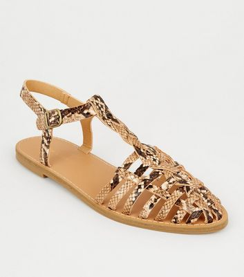 Camel Faux Snake Woven T-Bar Sandals