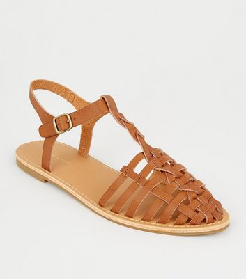Tan Leather-Look Woven T-Bar Caged Sandals