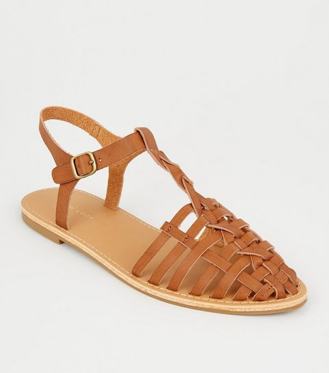 c8f0ebea36f ... Tan Leather-Look Woven T-Bar Caged Sandals ...
