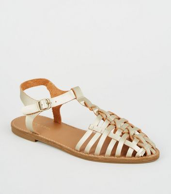 Gold Leather-Look T-Bar Caged Sandals