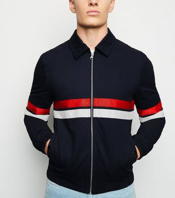 Navy Colour Block Stripe Harrington Jacket