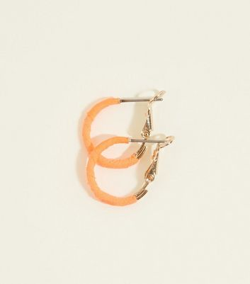Orange Neon Ribbon Wrap Mini Hoop Earrings