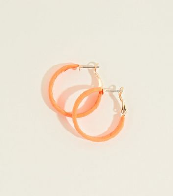 Bright Orange Neon Ribbon Wrap Midi Hoop Earrings by New Look