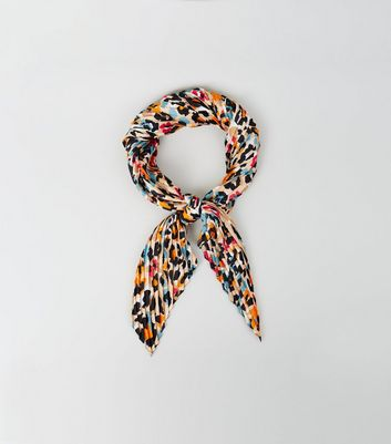 Multicoloured Leopard Print Pleated Scarf