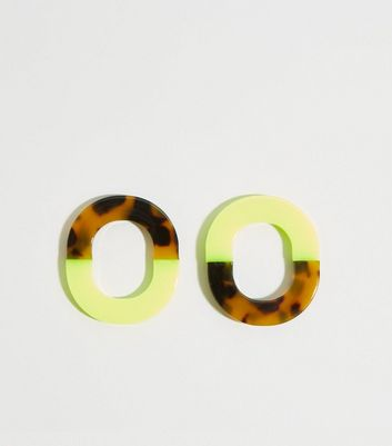 Green Neon and Faux Tortoiseshell Stud Earrings