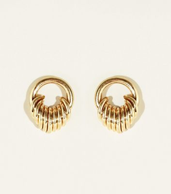 Gold Ring Effect On Circle Stud Earrings