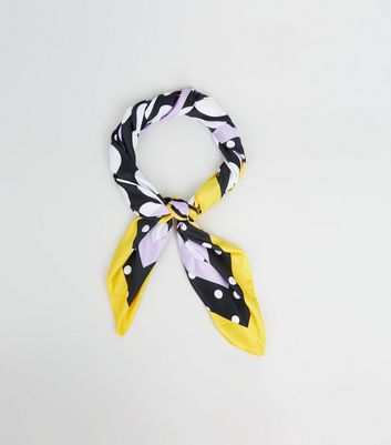 Black Spotted Border Print Scarf