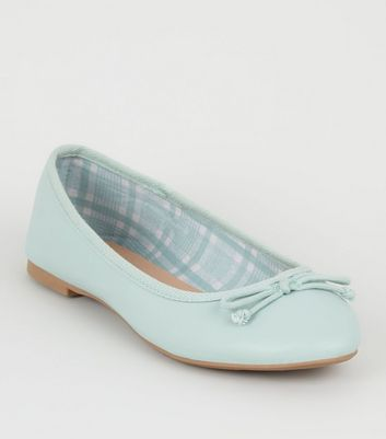 Mint Green Leather-look Ballet Pumps