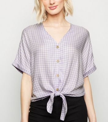 Lilac Gingham Button and Tie Front Shirt