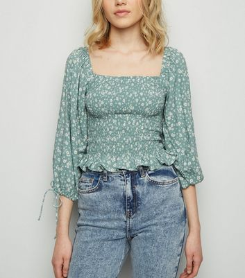 Green Floral Shirred Milkmaid Top