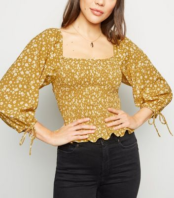 Yellow Floral Shirred Top