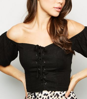 Black Linen Look Lace Up Milkmaid Top