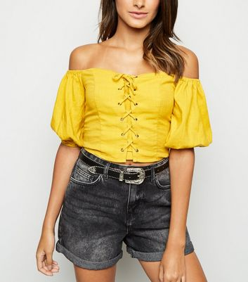 Yellow Linen Look Lace Up Milkmaid Top