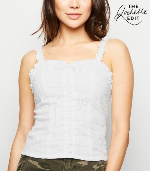 99af54e3183ff3 ... White Broderie Lace Up Cami ...