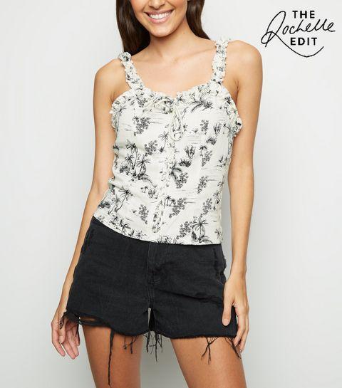 ... White Tropical Print Linen-Look Cami ... 67dfc6201