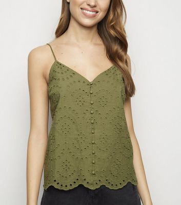 Khaki Broderie Button Front Cami