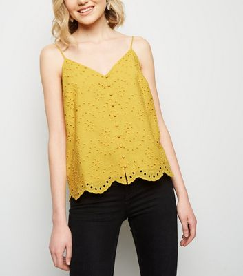 Yellow Broderie Button Front Cami