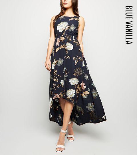af0583a4a9a6 ... Blue Vanilla Navy Floral Dip Hem Dress ...
