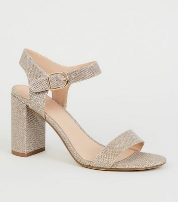 Gold Glitter 2 Part Block Heels