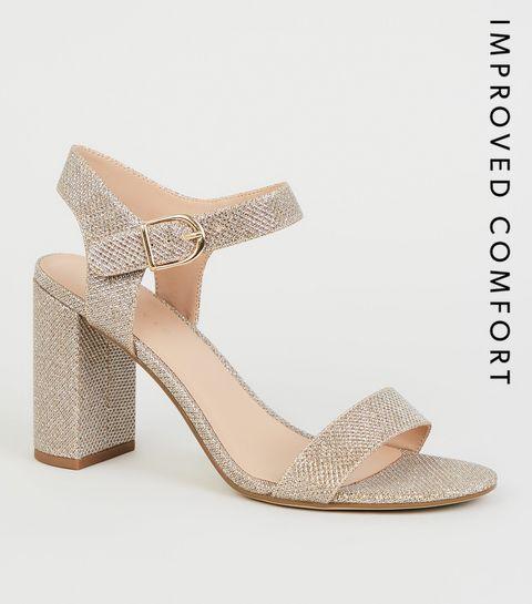 fe63bab95 ... Gold Glitter 2 Part Block Heels ...