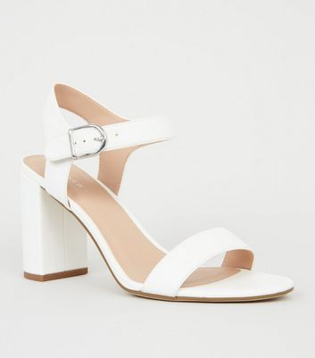 White Leather-Look 2 Part Block Heels