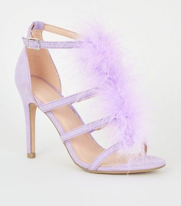 Lilac Feather Trim Caged Stiletto Heels
