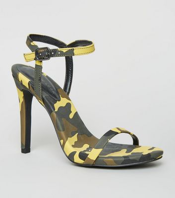 Green Camo Print Stiletto Heel Sandals