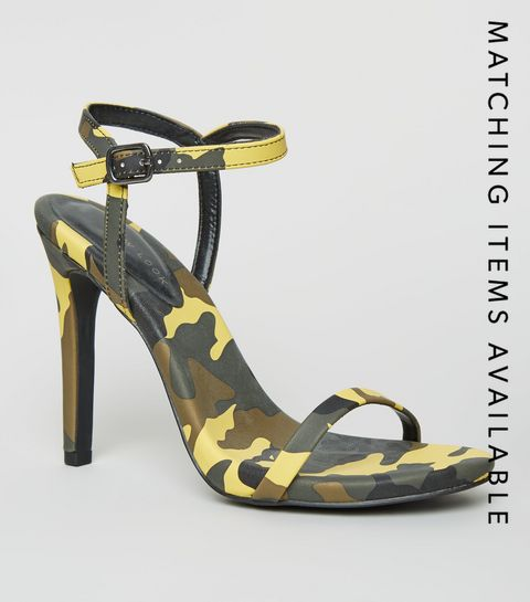 e8c475bd4ac ... Green Camo Print Stiletto Heel Sandals ...