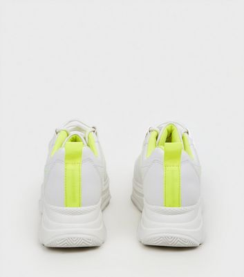 White Leather-Look Neon Trim Chunky