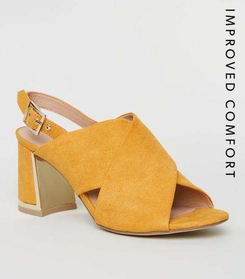 5906677e34452b ... Mustard Cross Strap Metal Trim Heels ...